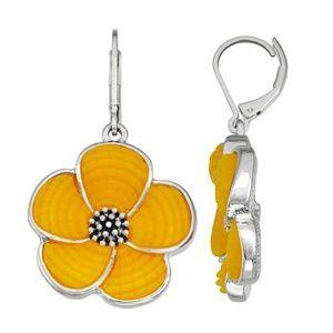 Napier Yellow Tropical Flower Drop Earrings